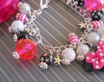Florida California Vacation Hot Pink Mouse Charm Bracelet B060