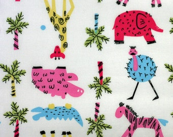 Trans Pacific Textiles Sketch Animals Fabric Multicolored Cute Safari Animals with Palm Trees on White