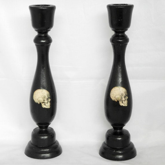 Gothic home decor black candle holder skulls Home decor candlesticks
