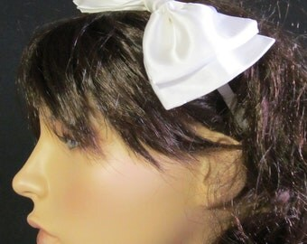 Satin Bow Neck or Hair Bow Elastic Band Dance Costume Cosplay Accessory
