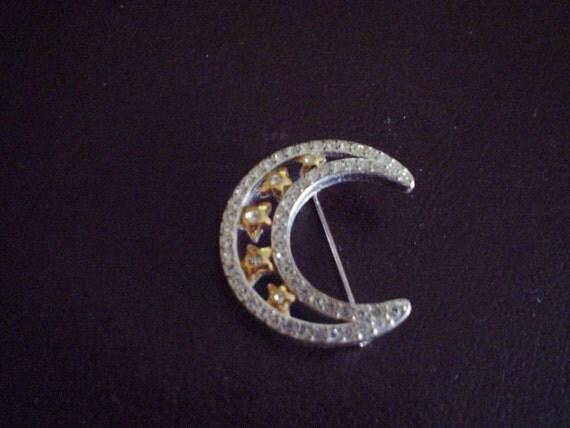 Vintage Brooch, Pin - Rhinestone Studded Half Moon