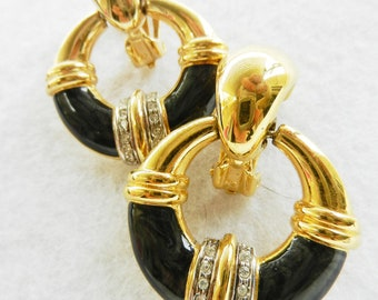 Original vintage Italian, 1970 - signature Sodini -beautiful earrings with enamel and crystals - top quality --Art.43 / 2 --