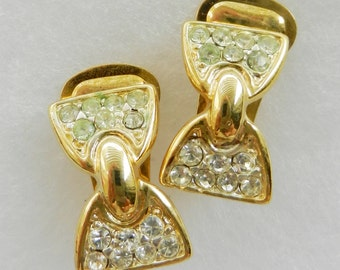 vintage 1960s Honeymoon in Rome  Earrings  -  gold and crystals for romantic bride with elegant look  -Art.144 -