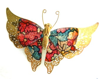 Old butterfly brooch, 1950 Italian - wings with enamel and gold lace-an ancient symbol of femininity -  -Art.283/2-