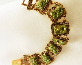 1950 Superb bracelet - Antique jewel collection, with Precious Adventurine chips and opulent processing-Art.240/2-