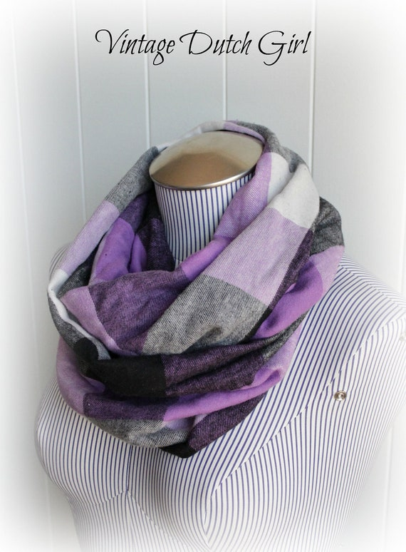 Plaid Infinity Scarf, Purple Black and White Plaid Fashion loop Cowl Scarf