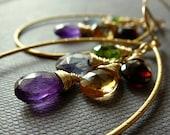 Amethyst, Citrine, Garnet, Peridot, Blue Quartz, Cluster Hoop Gold Earrings