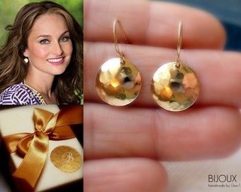 "Gold Disc Earrings - Hammered - 14K Goldfilled - ""Soleil"" Earrings"