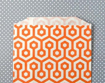 Orange Honeycomb Goody Bags / Favor Bags / Treat Bags (20) - 5 x 7.5 inches