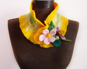 eco friendly felted yellow autumn collar scarf, eco friendly, winter fashion
