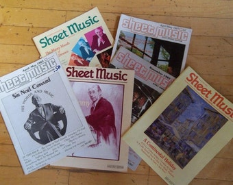 Sale - Six Issues -  Sheet Music Magazine - April 1981 -1993 - Vintage - Collectible