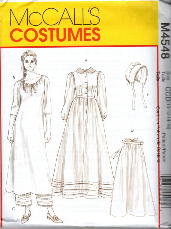 M4548 McCall's Uncut Sewing Pattern Misses Early American Costume Size CCD 10-12-14-16