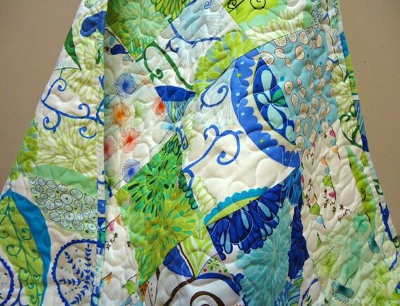 Modern Baby Quilt, Baby Boy Quilt-Blue Baby Quilt--Wrenly Fabrics-Nursery Bedding-Blue-Birds-Patchwork Quilt
