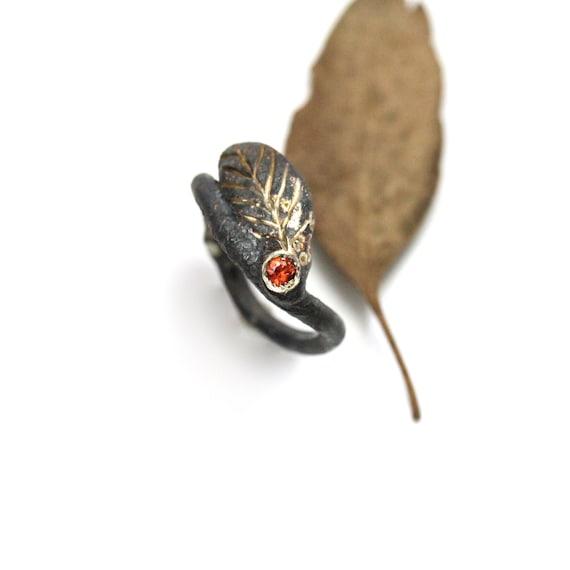 Silver Autumn Leaf Orange Sapphire Ring - Fiery Foliage