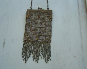 Antique  French steel cut beaded handbag doll purse with Perfect fringe Arrow design