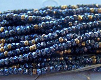 antique French steel cut bead Trim sold by the foot  Blue Gold Facted metal beads