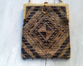 Fabulous Antique Steel beaded handbag Oriental rug design Black and Gold with steel