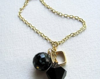 Long black bead cluster necklace, geometric, 14k gold plate chain, czech glass