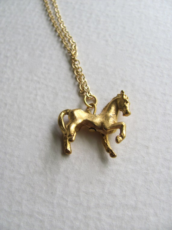 Petite gold stallion charm necklace on delicate 14k gold plate chain, horse pendant