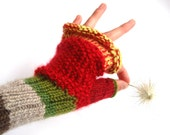 Red fingerless women gloves, green women mittens, autumn fashion