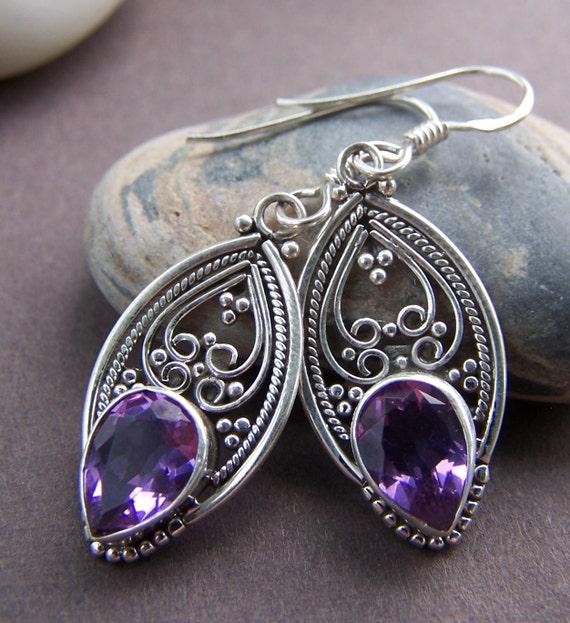 Deli Earrings Amethyst and Sterling Silver Earrings