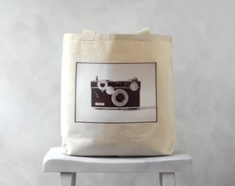 The Argus C3 - Vintage Camera Photograph on a Natural or Black Canvas Bag - School Bag - Carryall Tote