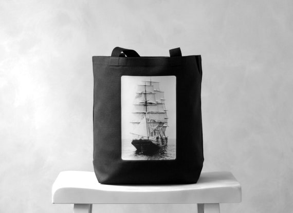 The Panay in the Boston Harbor - Black Canvas Bag - Essentials Tote - Tall Ships