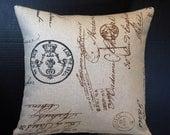 Pillow Cover French Postcard Handwritten Script