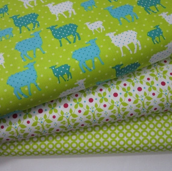 Organic Cotton Collection Lamb Lime from Modern Whimsy by Laurie Wisbrun for Robert Kaufman - 1 YD