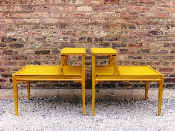 Vintage Side Tables In Mustard Yellow