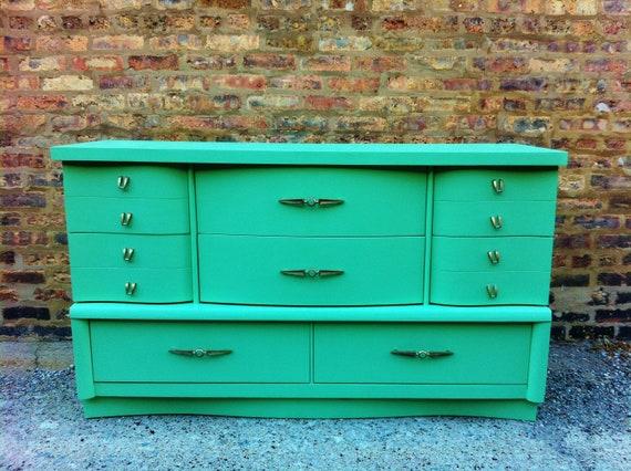 Vintage Dresser In Minty Green