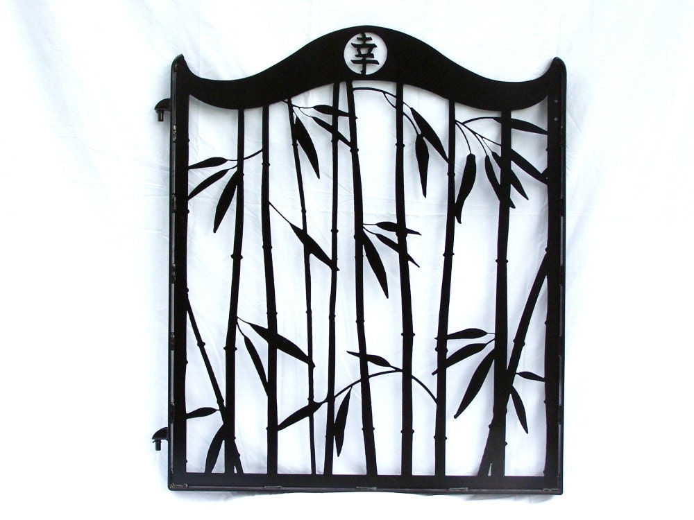 Steel Bamboo Garden Gate Japanese Kanji Metal Art