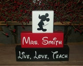 Teacher Appreciation Gift...Minnie or Mickey Mouse 3 Piece Wood Sign Blocks Personalized Sign Blocks Stacking Blocks