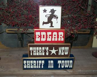 Four Piece Personalized Boys Cowboy Sign Blocks Old West Nursery Decor  Wood Sign
