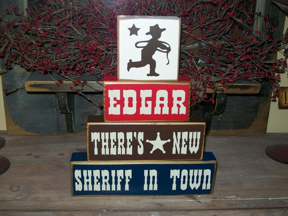 Four Piece Personalized Boys Cowboy Sign Blocks Old West Nursery Decor  Wood Sign
