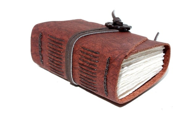Harmony - Wee Chunky Book - Handmade - Rust and Brown Leather with Jade Adornment