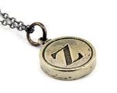Letter Z Charm Necklace - White Bronze Initial Typewriter Key Charm Necklace - Gwen Delicious Jewelry Design GDJ