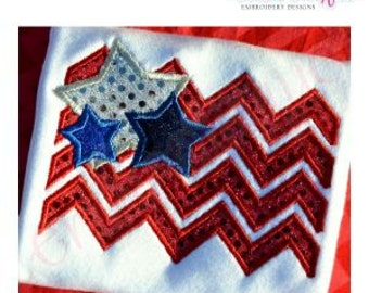 Chevron American Flag with Stars Applique - USA - 4th of July - America - Instant Download Machine embroidery design