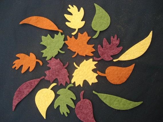 Wool Felt Leaves - Fall Colors