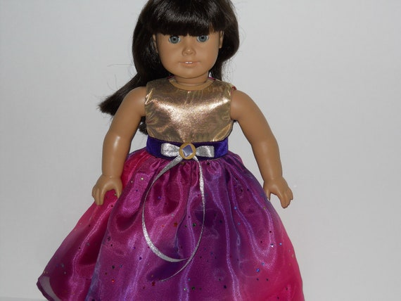American Girl doll clothes, 18 inch doll clothes,  Pink/Purple/Gold Special Occasion Dress