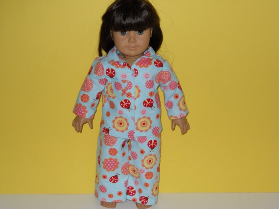American Girl doll clothes, 18 inch doll clothes, American girl doll pajamas -  Blue Ladybug Pajamas