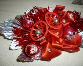 Vintage Corsage ~ Red And Silver Christmas Corsage ~  Foil Leaves Bells Glitter ~ Old Christmas ~