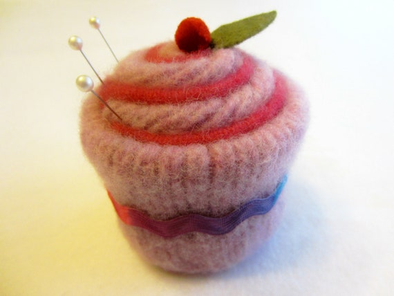 Cupcake Pincushion Felted Wool Upcycled Felted Wool Lavender Pink Ric Rac