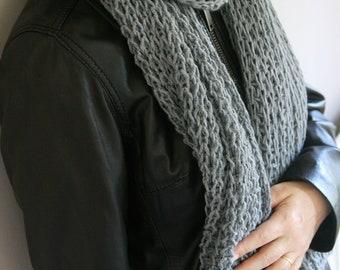 Grey ,Gray ,Wool Knitting ,Warm Scarf ,Wool Scarf