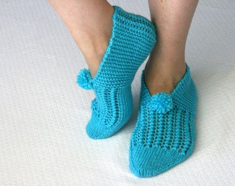 Ocean Blue Warm Slippers, House Slippers, Christmas, Knitt Slippers, Wool Slippers