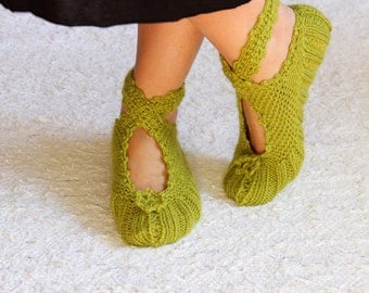 Christmas Gift, Green Ballerina Slippers, House Slippers, Wool Slippers, Womens Slippers, Womens
