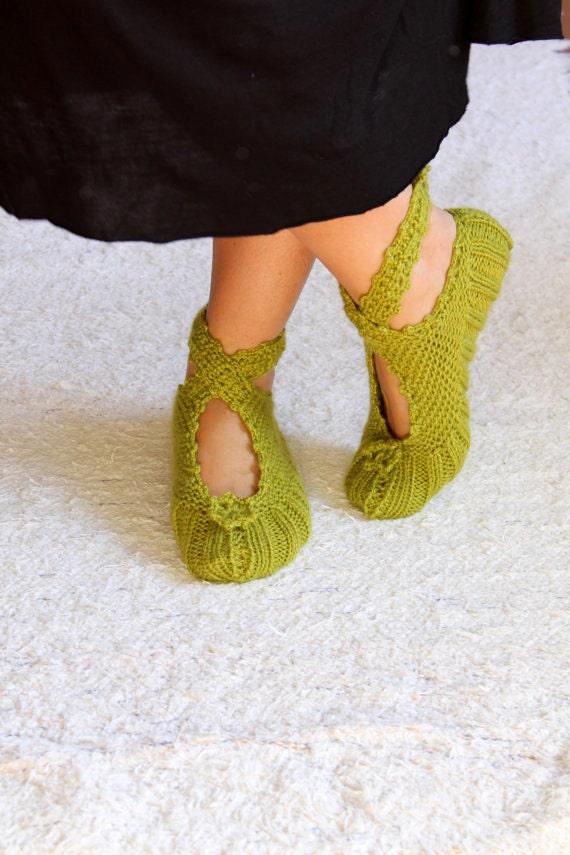 Green Ballerina Slippers, House Slippers, Wool Slippers, House Slippers