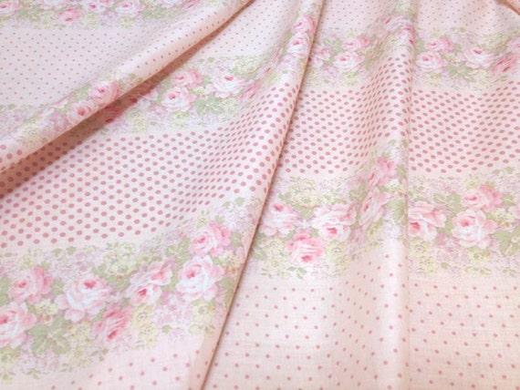 Japanese Cotton Print Fabric - Yuwa Live Life Collection 60 Lawn, Half Yard - Romantic Rose & Dots - NT373