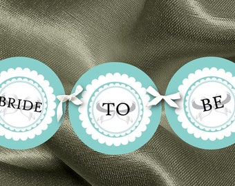 Bridal Shower Banner, Party Bunting, Bride to Be, Photo Prop, Candy Buffet Banner, Turquoise Aqua Blue Colors, Diamond Rings, White Bows