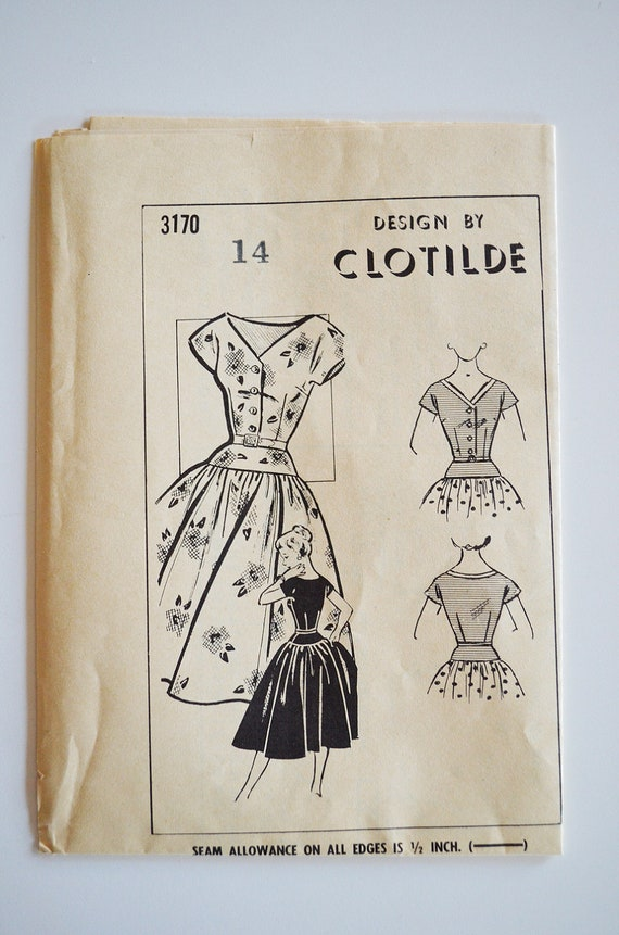 Vintage Mail Order Sewing Pattern Clotilde 3170 Cinched Waist Dress Size 14 UNCUT